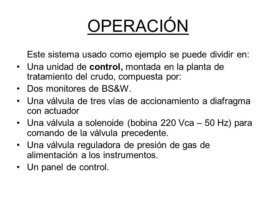 OPERACIÓN Este sistema usado como ejemplo se puede dividir en: Una unidad de control, montada en la planta de tratamiento del crudo, compuesta por: Dos monitores de BS&W.