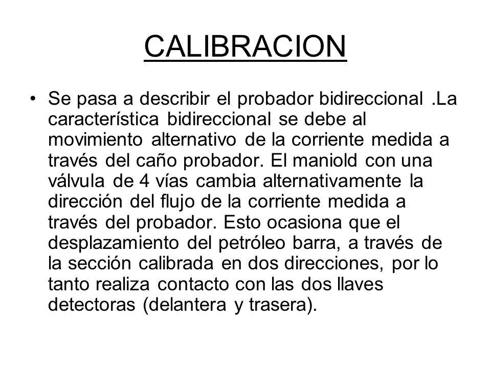 CALIBRACION Se pasa a describir el probador bidireccional.La característica bidireccional se debe al movimiento alternativo de la corriente medida a través del caño probador.