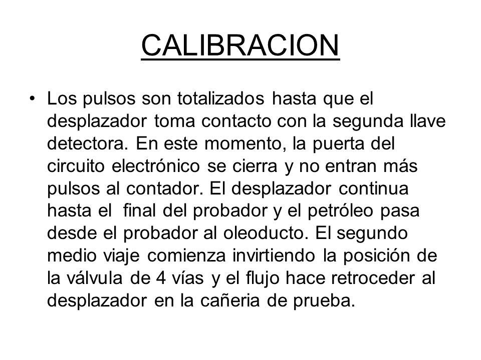 CALIBRACION Los pulsos son totalizados hasta que el desplazador toma contacto con la segunda llave detectora.