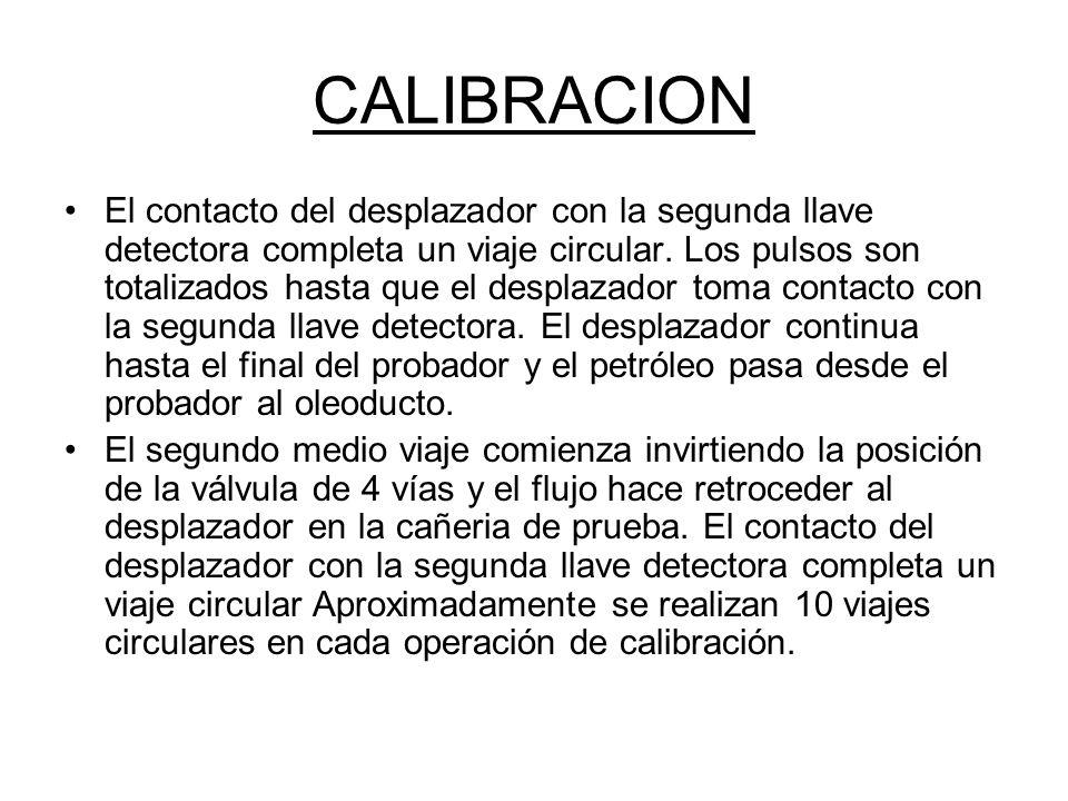 CALIBRACION El contacto del desplazador con la segunda llave detectora completa un viaje circular.