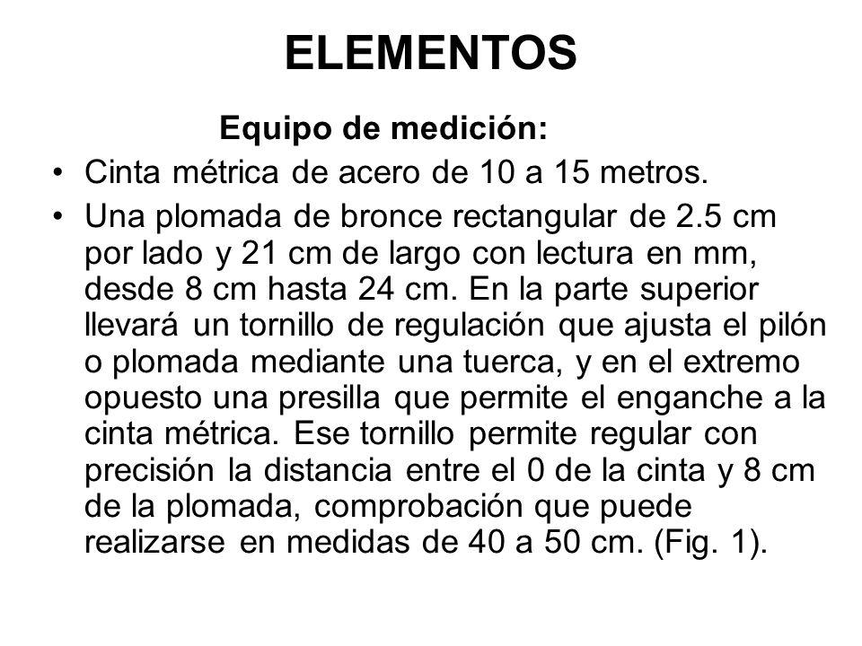 ELEMENTOS Equipo de medición: Cinta métrica de acero de 10 a 15 metros.