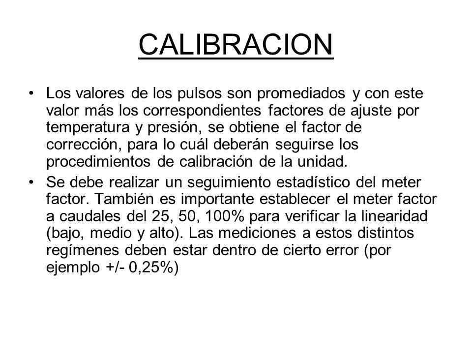 CALIBRACION Los valores de los pulsos son promediados y con este valor más los correspondientes factores de ajuste por temperatura y presión, se obtiene el factor de corrección, para lo cuál deberán seguirse los procedimientos de calibración de la unidad.