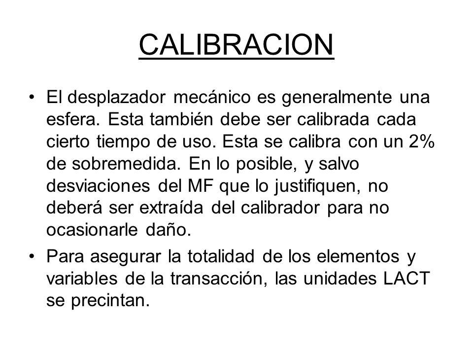 CALIBRACION El desplazador mecánico es generalmente una esfera.