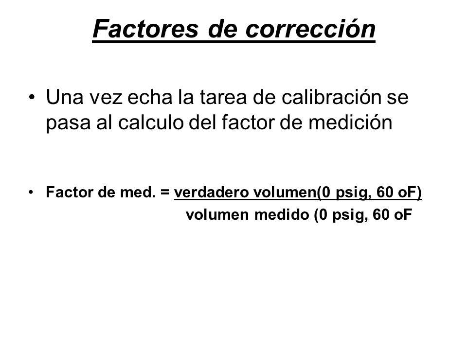 Factores de corrección Una vez echa la tarea de calibración se pasa al calculo del factor de medición Factor de med.