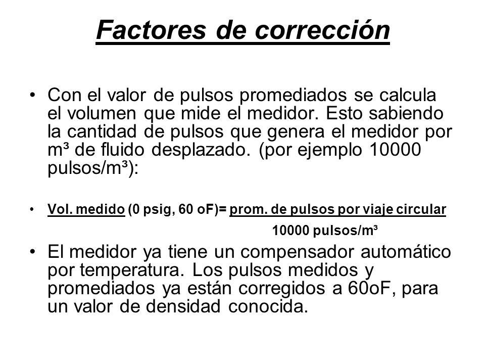 Factores de corrección Con el valor de pulsos promediados se calcula el volumen que mide el medidor.