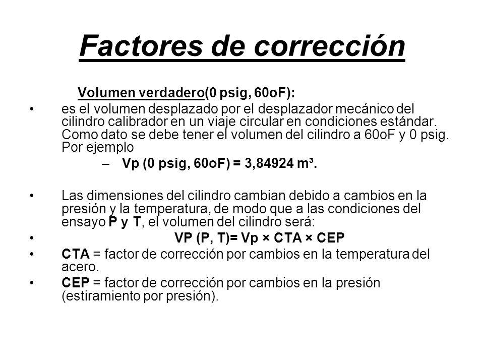 Factores de corrección Volumen verdadero(0 psig, 60oF): es el volumen desplazado por el desplazador mecánico del cilindro calibrador en un viaje circular en condiciones estándar.