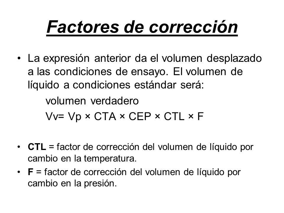 Factores de corrección La expresión anterior da el volumen desplazado a las condiciones de ensayo.
