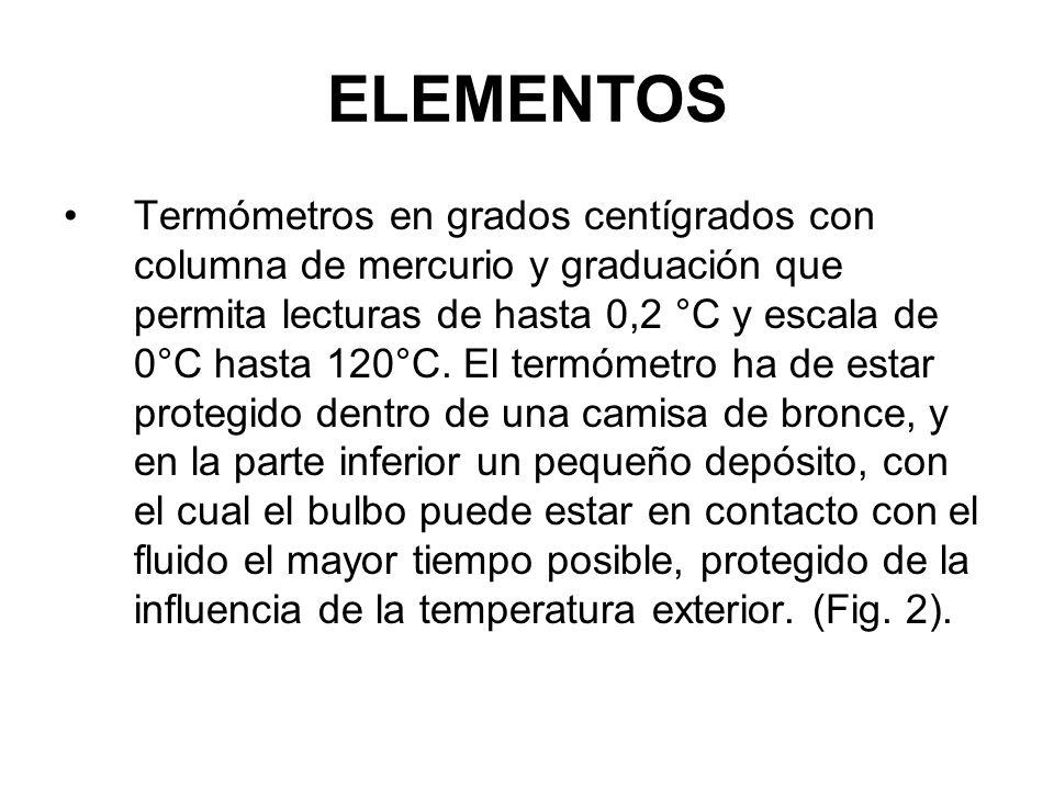 ELEMENTOS Termómetros en grados centígrados con columna de mercurio y graduación que permita lecturas de hasta 0,2 °C y escala de 0°C hasta 120°C.