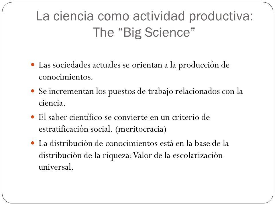 La ciencia como actividad productiva: The Big Science Las sociedades actuales se orientan a la producción de conocimientos.