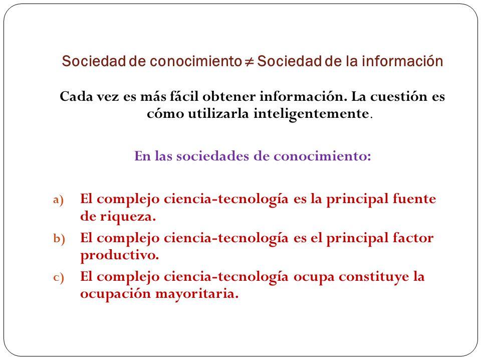 Sociedad de conocimiento Sociedad de la información Cada vez es más fácil obtener información.