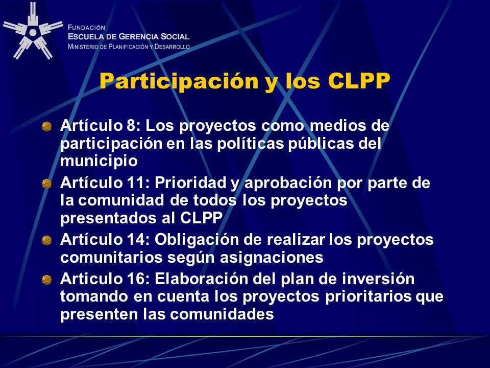 Participación y los CLPP Artículo 8: Los proyectos como medios de participación en las políticas públicas del municipio Artículo 11: Prioridad y aprob