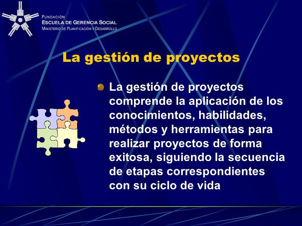 La gestión de proyectos La gestión de proyectos comprende la aplicación de los conocimientos, habilidades, métodos y herramientas para realizar proyectos de forma exitosa, siguiendo la secuencia de etapas correspondientes con su ciclo de vida