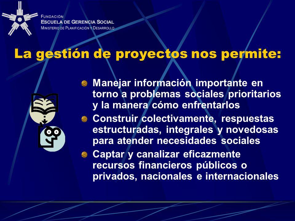 La gestión de proyectos nos permite: Manejar información importante en torno a problemas sociales prioritarios y la manera cómo enfrentarlos Construir
