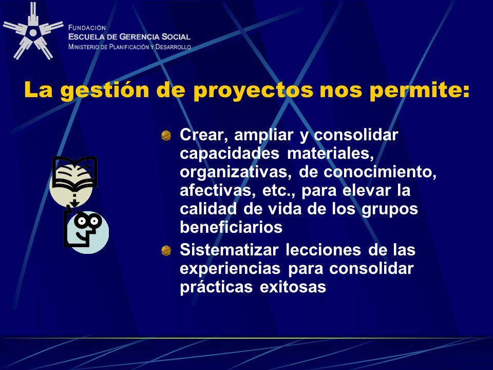La gestión de proyectos nos permite: Crear, ampliar y consolidar capacidades materiales, organizativas, de conocimiento, afectivas, etc., para elevar