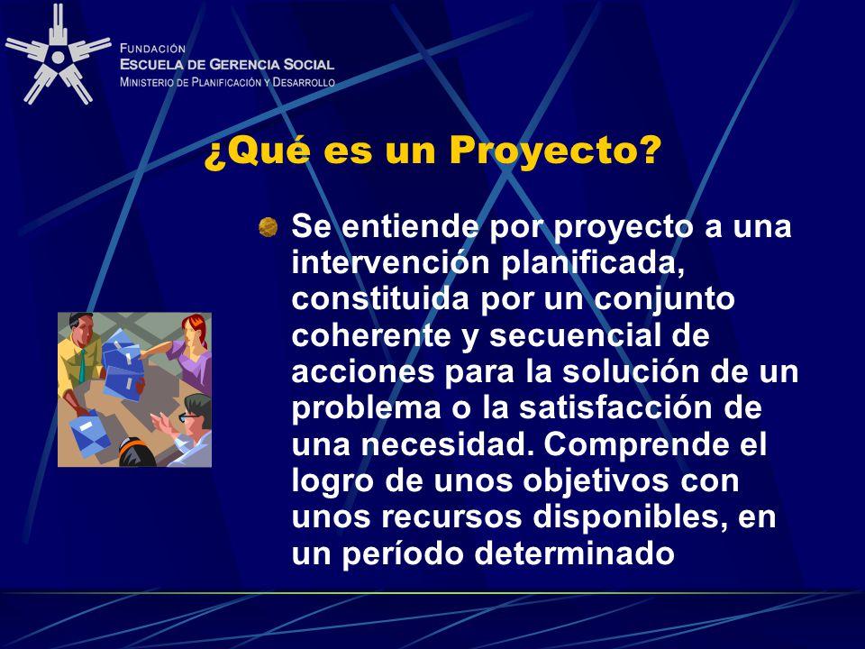 ¿Qué es un Proyecto? Se entiende por proyecto a una intervención planificada, constituida por un conjunto coherente y secuencial de acciones para la s