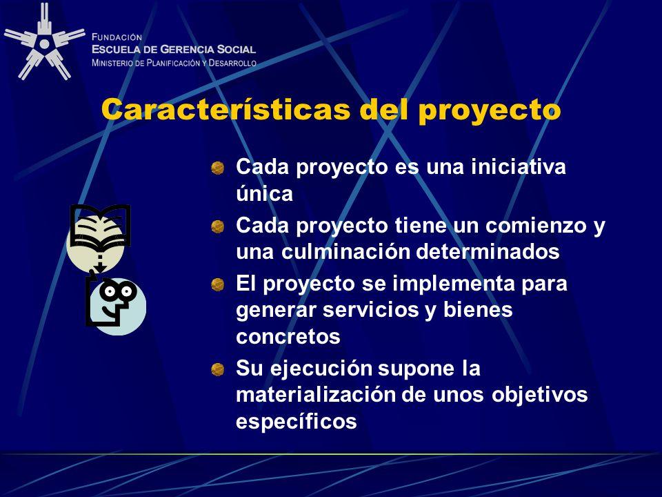Características del proyecto Cada proyecto es una iniciativa única Cada proyecto tiene un comienzo y una culminación determinados El proyecto se implementa para generar servicios y bienes concretos Su ejecución supone la materialización de unos objetivos específicos