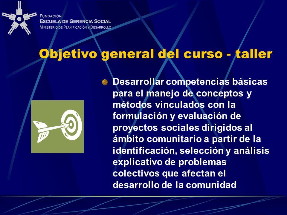 Objetivo general del curso - taller Desarrollar competencias básicas para el manejo de conceptos y métodos vinculados con la formulación y evaluación