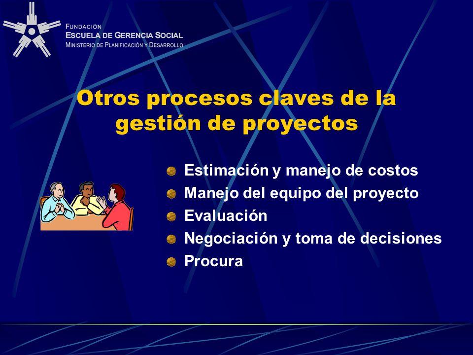 Otros procesos claves de la gestión de proyectos Estimación y manejo de costos Manejo del equipo del proyecto Evaluación Negociación y toma de decisiones Procura