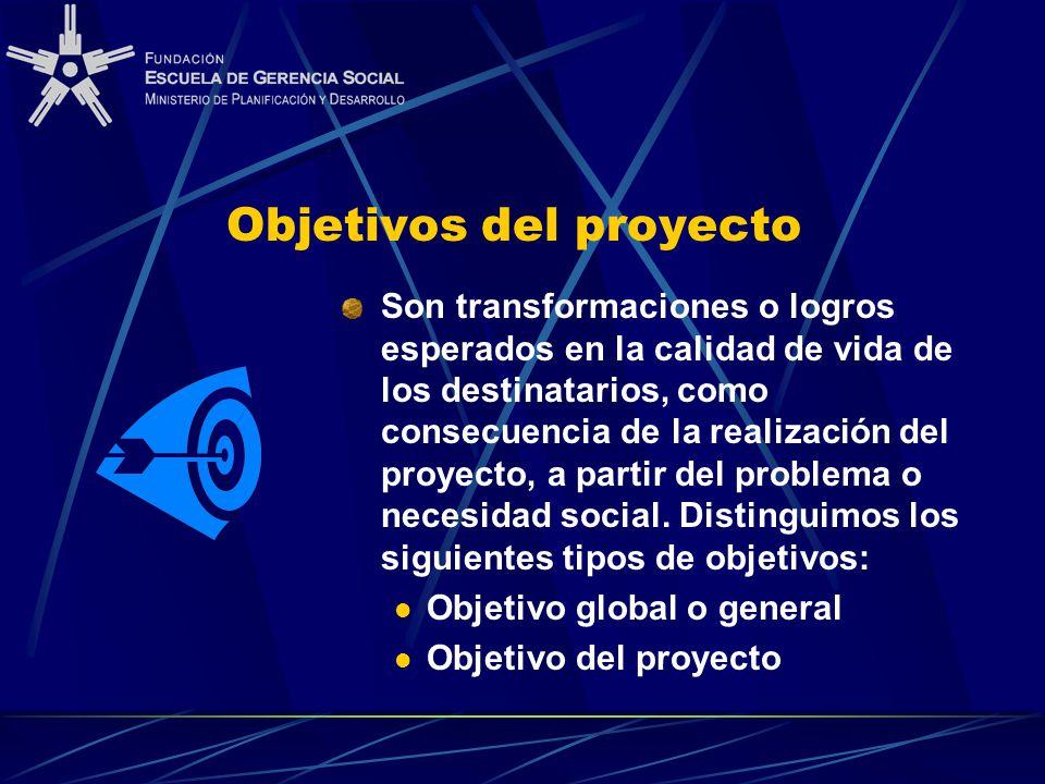 Objetivos del proyecto Son transformaciones o logros esperados en la calidad de vida de los destinatarios, como consecuencia de la realización del proyecto, a partir del problema o necesidad social.