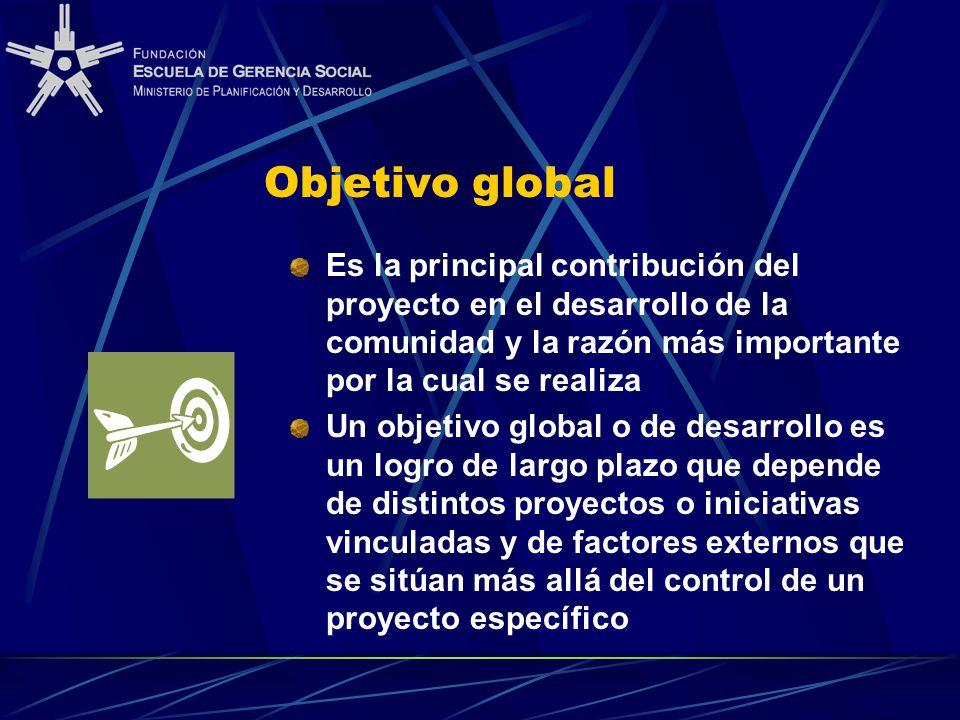 Objetivo global Es la principal contribución del proyecto en el desarrollo de la comunidad y la razón más importante por la cual se realiza Un objetivo global o de desarrollo es un logro de largo plazo que depende de distintos proyectos o iniciativas vinculadas y de factores externos que se sitúan más allá del control de un proyecto específico