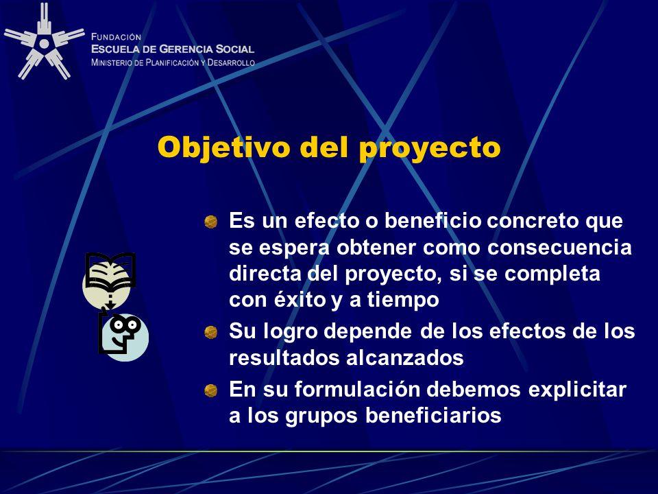 Objetivo del proyecto Es un efecto o beneficio concreto que se espera obtener como consecuencia directa del proyecto, si se completa con éxito y a tiempo Su logro depende de los efectos de los resultados alcanzados En su formulación debemos explicitar a los grupos beneficiarios