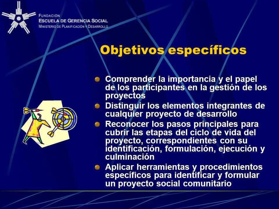 Objetivos específicos Comprender la importancia y el papel de los participantes en la gestión de los proyectos Distinguir los elementos integrantes de