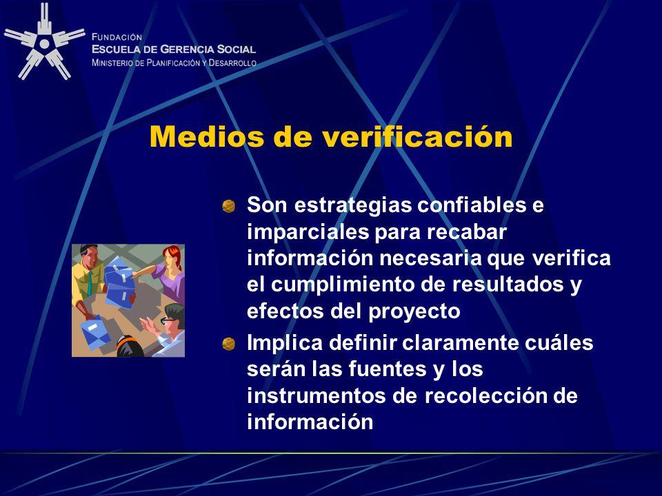 Medios de verificación Son estrategias confiables e imparciales para recabar información necesaria que verifica el cumplimiento de resultados y efecto