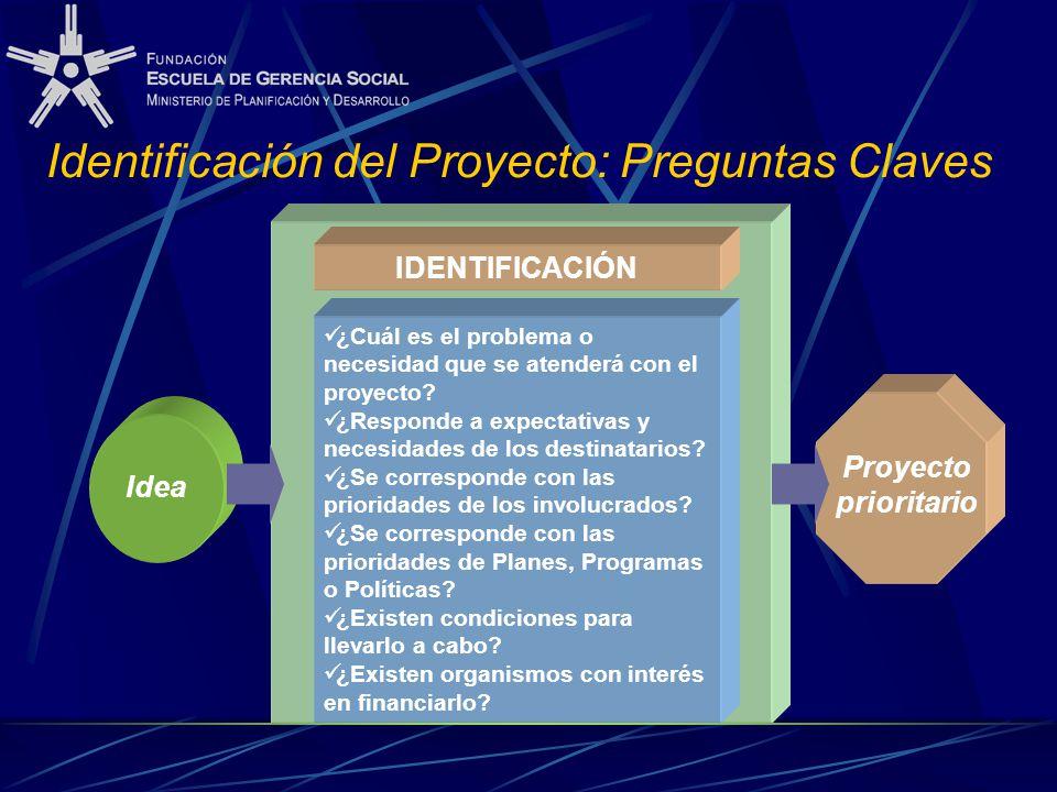 Identificación del Proyecto: Preguntas Claves IDENTIFICACIÓN ¿Cuál es el problema o necesidad que se atenderá con el proyecto? ¿Responde a expectativa