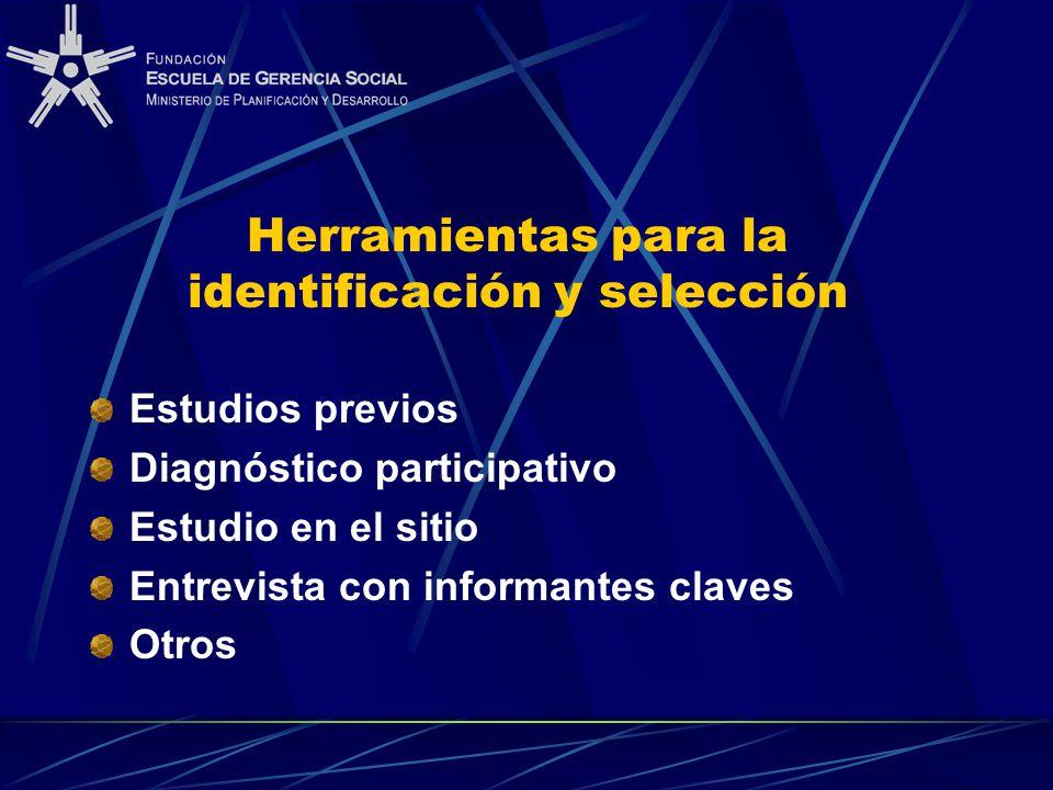 Herramientas para la identificación y selección Estudios previos Diagnóstico participativo Estudio en el sitio Entrevista con informantes claves Otros