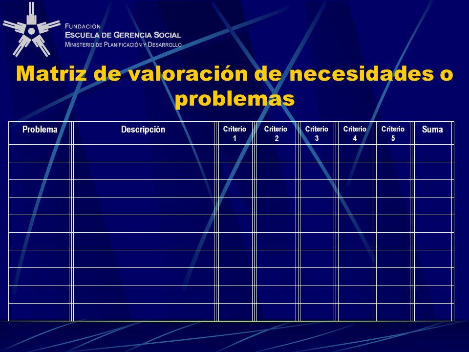 Matriz de valoración de necesidades o problemas ProblemaDescripción Criterio 1 Criterio 2 Criterio 3 Criterio 4 Criterio 5 Suma
