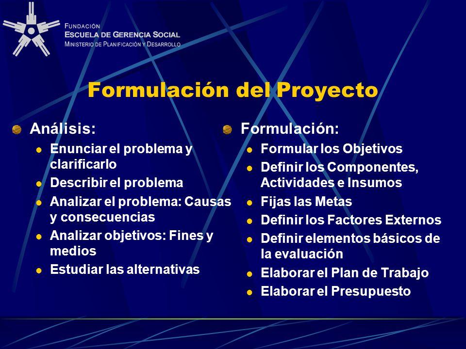 Formulación del Proyecto Análisis: Enunciar el problema y clarificarlo Describir el problema Analizar el problema: Causas y consecuencias Analizar obj