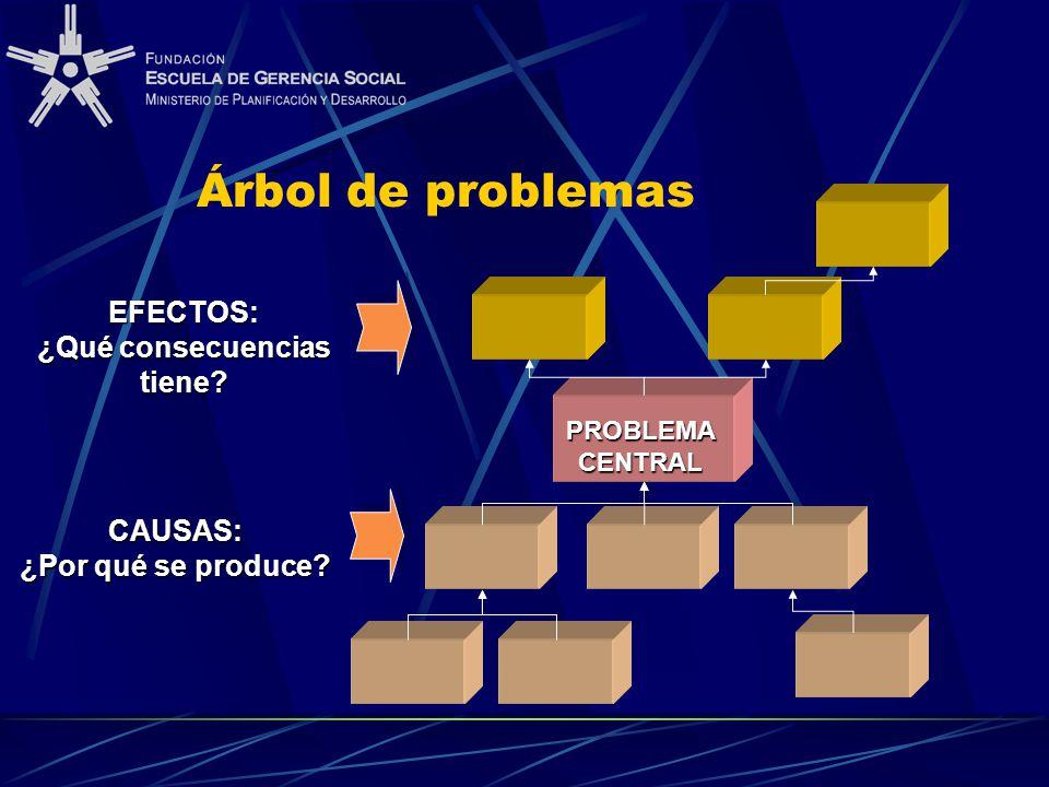 Árbol de problemas CAUSAS: ¿Por qué se produce? EFECTOS: ¿Qué consecuencias tiene? PROBLEMA CENTRAL
