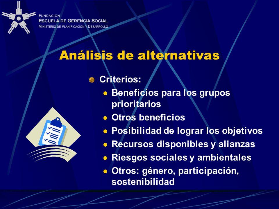 Análisis de alternativas Criterios: Beneficios para los grupos prioritarios Otros beneficios Posibilidad de lograr los objetivos Recursos disponibles
