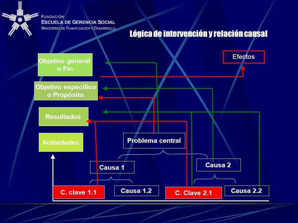 Lógica de intervención y relación causal Objetivo general o Fin Objetivo específico o Propósito Resultados Actividades Problema central Causa 1 Causa 2 Causa 1.1Causa 1.2 Causa 2.1 Causa 2.2 C.