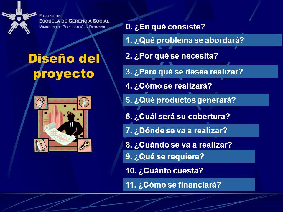 Diseño del proyecto 1. ¿Qué problema se abordará? 2. ¿Por qué se necesita? 3. ¿Para qué se desea realizar? 6. ¿Cuál será su cobertura? 7. ¿Dónde se va