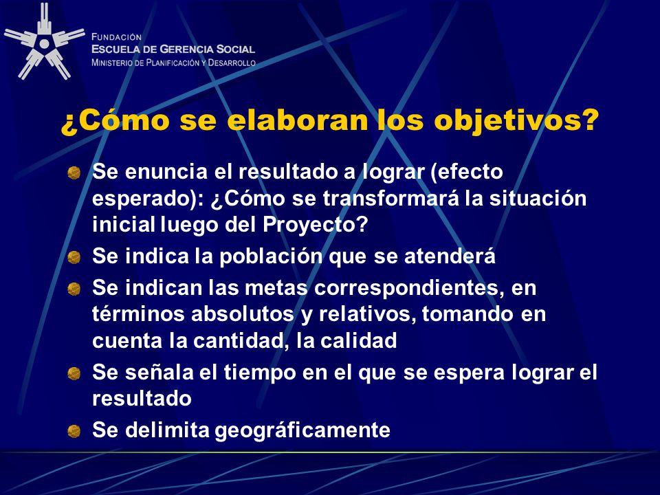 ¿Cómo se elaboran los objetivos? Se enuncia el resultado a lograr (efecto esperado): ¿Cómo se transformará la situación inicial luego del Proyecto? Se