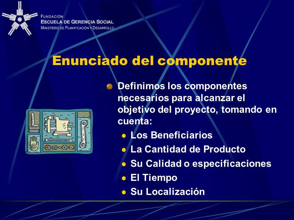 Enunciado del componente Definimos los componentes necesarios para alcanzar el objetivo del proyecto, tomando en cuenta: Los Beneficiarios La Cantidad de Producto Su Calidad o especificaciones El Tiempo Su Localización