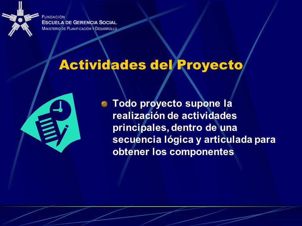 Actividades del Proyecto Todo proyecto supone la realización de actividades principales, dentro de una secuencia lógica y articulada para obtener los componentes