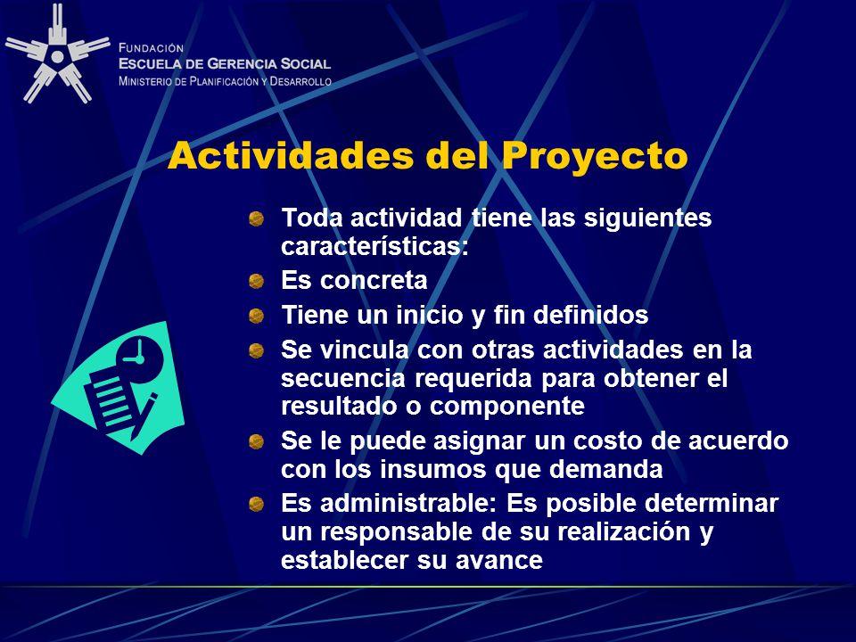 Actividades del Proyecto Toda actividad tiene las siguientes características: Es concreta Tiene un inicio y fin definidos Se vincula con otras activid
