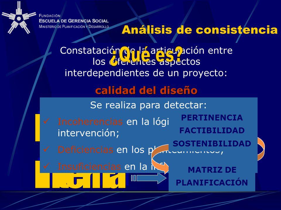 Análisis de consistencia Constatación de la articulación entre los diferentes aspectos interdependientes de un proyecto: calidad del diseño DIMENSIONE