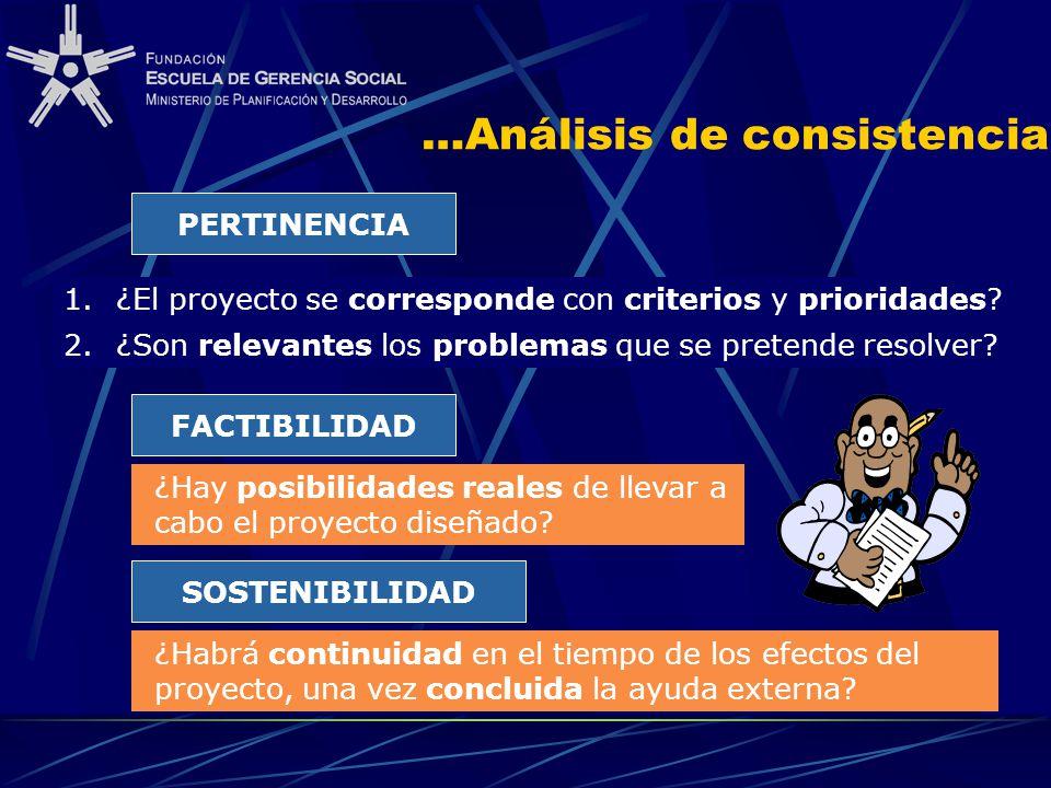 …Análisis de consistencia PERTINENCIA 2.¿Son relevantes los problemas que se pretende resolver? ¿Hay posibilidades reales de llevar a cabo el proyecto