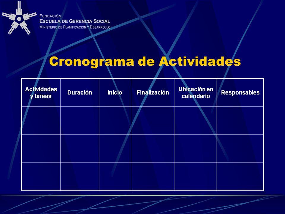 Cronograma de Actividades Actividades y tareas DuraciónInicioFinalización Ubicación en calendario Responsables