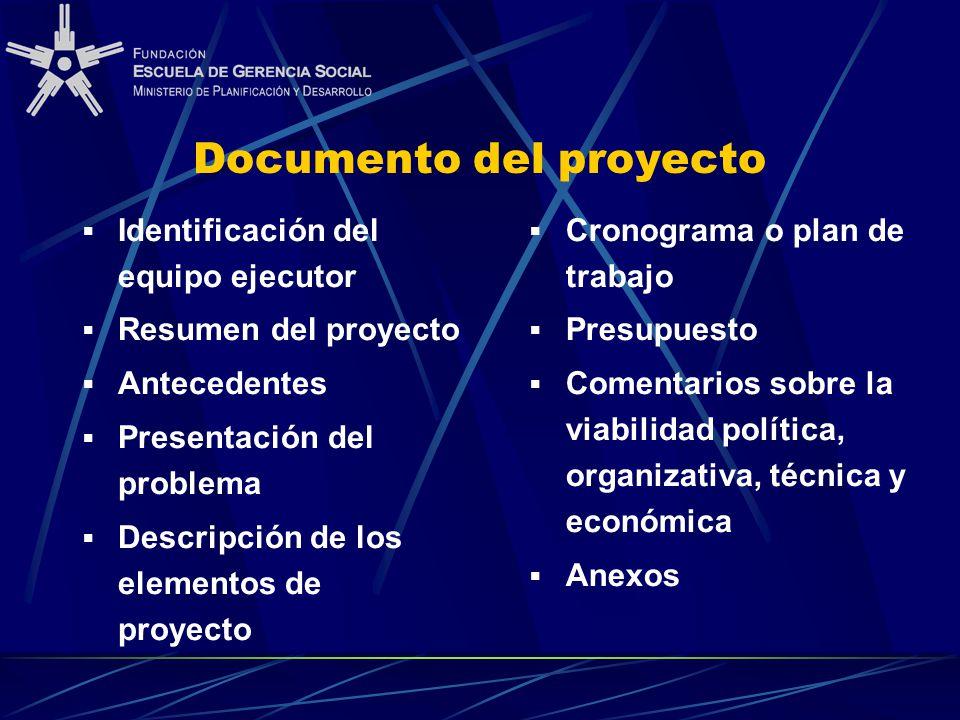 Documento del proyecto Identificación del equipo ejecutor Resumen del proyecto Antecedentes Presentación del problema Descripción de los elementos de