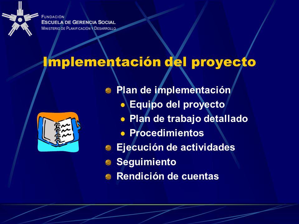 Implementación del proyecto Plan de implementación Equipo del proyecto Plan de trabajo detallado Procedimientos Ejecución de actividades Seguimiento R