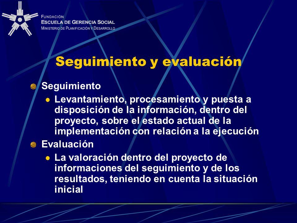 Seguimiento y evaluación Seguimiento Levantamiento, procesamiento y puesta a disposición de la información, dentro del proyecto, sobre el estado actual de la implementación con relación a la ejecución Evaluación La valoración dentro del proyecto de informaciones del seguimiento y de los resultados, teniendo en cuenta la situación inicial
