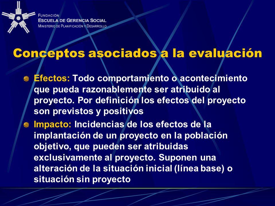 Conceptos asociados a la evaluación Efectos: Todo comportamiento o acontecimiento que pueda razonablemente ser atribuido al proyecto. Por definición l