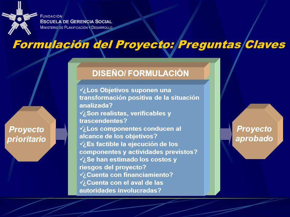 Proyecto prioritario DISEÑO/ FORMULACIÓN ¿Los Objetivos suponen una transformación positiva de la situación analizada? ¿Son realistas, verificables y