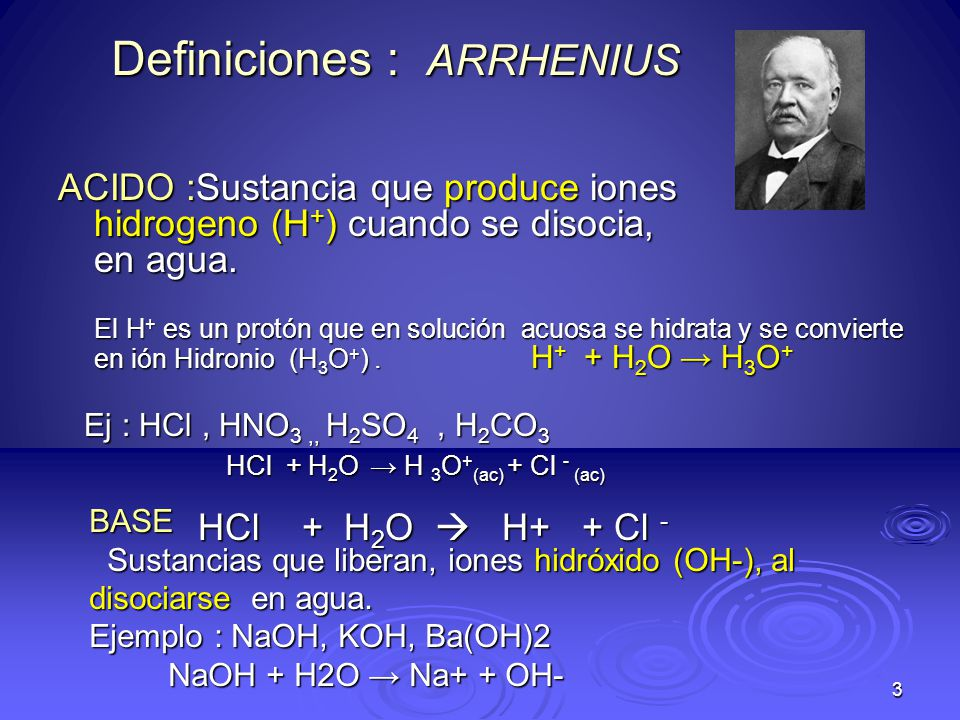4 Definiciones :BRONSTED-LOWRY ACIDO: Sustancia que dona un protón, (ion H + ) a otra sustancia.