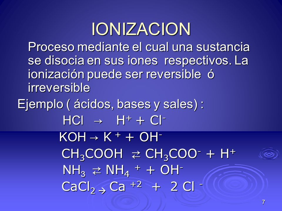 28 % de Ionización en ácidos y bases débiles, como éstos se ionizan en pequeño porcentaje, se calcula el % de ionización de la siguiente manera Ácidos : Bases: % de ionización = [H + ] x 100 [ácido] % de Ionización = [OH - ] x 100 [base ]
