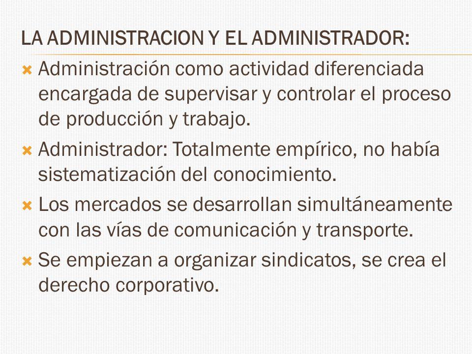 LA ADMINISTRACION Y EL ADMINISTRADOR: Administración como actividad diferenciada encargada de supervisar y controlar el proceso de producción y trabaj